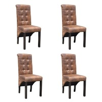 4x Polyester Fabric Dining Chair w Brown Suede Look