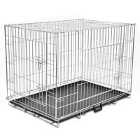 3 Door Folding Steel Dog Carrier Transport Cage XL