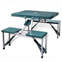 Aluminium Folding Camping Table & Bench Set - Green