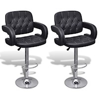 2x Faux Leather Bar Stool w Curved Armrest in Black