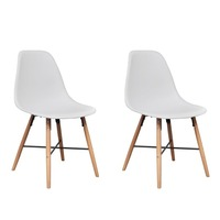 2x Eames Inspired Dining Chairs w Wooden Legs White
