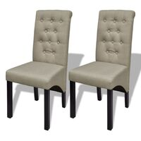 2x Polyester Fabric Dining Chairs in Antique Beige