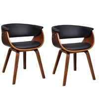 2x Bent Wood Faux Leather Dining Chair in Black
