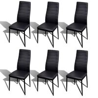 6x Slimline Iron & Faux Leather Dining Chairs Black