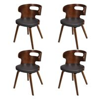 4x Round Cut Out Faux Leather Dining Chair in Brown
