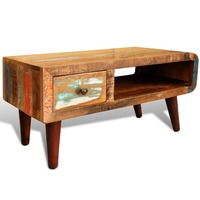 Vintage Reclaimed Wood Coffee Table w/ Curved Edge