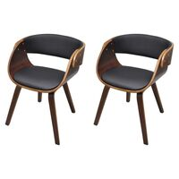 2x Round Faux Leather Dining Armchairs Brown Black
