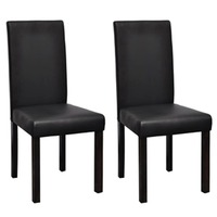 2x Faux Leather Dining Chairs w Wood Legs in Black