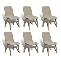 6x Fabric Dining Chairs w/ Oak Frame in Beige