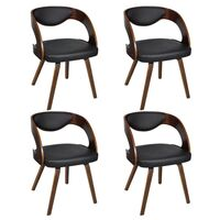 4x Round Faux Leather Dining Armchair Brown & Black