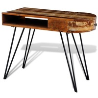 Vintage Reclaimed Wood Hall Table with Curved Edge