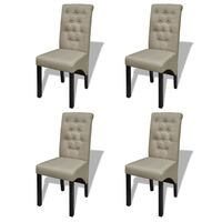 4x Polyester Fabric Dining Chairs in Antique Beige