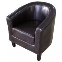 Modern Wood & Faux Leather Tub Sofa Chair in Brown