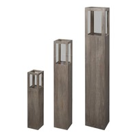 3pc MDF Wood & Glass Candle Holder Stands in Brown
