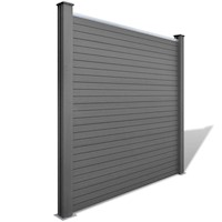 Square WPC Wood Plastic Garden Fence Panel in Grey