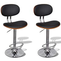 2x Contour Faux Leather Gas Lift Bar Stool in Black