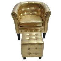 Faux Leather Chesterfield Armchair w/ Stool in Gold