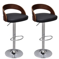 2x Faux Leather Wood Rail Gas Lift Bar Stool Black