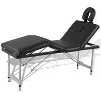 4 Zone Metal & Faux Leather Massage Table in Black