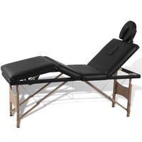 4 Zone Wood and Faux Leather Massage Table in Black