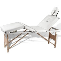 4 Zone Faux Leather & Wood Massage Table in White