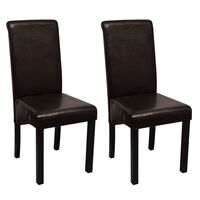 2x Faux Leather Dining Chair w Wooden Legs in Brown