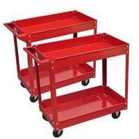 2x Steel Workshop Tool Trolley with 2 Shelves 100kg