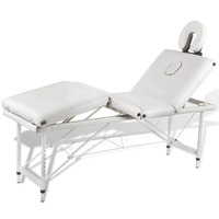 4 Zone Metal & Faux Leather Massage Table in White