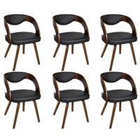6x Round Faux Leather Dining Chair in Brown & Black
