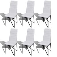 6x Slimline Faux Leather & Iron Dining Chairs White