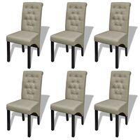 6x Polyester Fabric Dining Chairs in Antique Beige