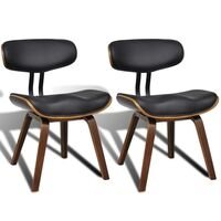 2x Contour Wood & Faux Leather Dining Chair - Black