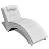 Modern Faux Leather Chaise Lounge w Head Rest White