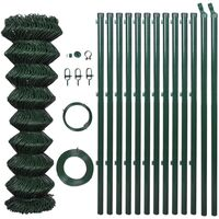 Green Chain Wire Fence w/ Posts and Hardware 1x15m