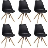 6x Eames Inspired Faux Leather Dining Chair - Black