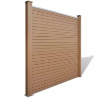 Square WPC Wood & Plastic Garden Fence Panel Brown