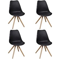 4x Eames Inspired Faux Lather Dining Chair in Black