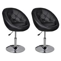 2x Chesterfield Faux Leather Club Chairs in Black