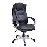 High Back Faux Leather Swivel Office Chair in Black