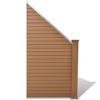 Slanted WPC Wood & Plastic Garden Fence Panel Brown