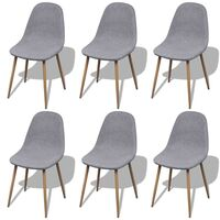 6x Eames Inspired Fabric Dining Chair in Light Grey