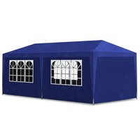 Portable Gazebo Party Tent w/ Windows in Blue 3x6m