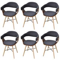 6x Bent Wood Fabric Upholstered Dining Chair Grey