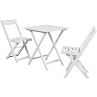 3pc Folding Outdoor Dining Set in White Acacia Wood