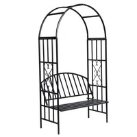 Outdoor Stainless Steel Garden Arch w/ Bench Black