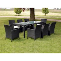 9pc PE Rattan Wicker Outdoor Dining Set in Black