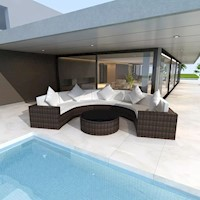 Outdoor Rattan Half Round Sofa Lounge Set in Brown