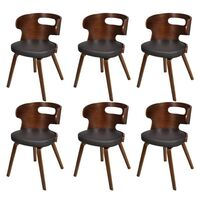 6x Round Cut Out Faux Leather Dining Chair in Brown