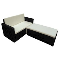 Outdoor Sofa and Foot Bench Set in Black PE Rattan