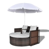 Wicker Outdoor Day Bed Lounge Set w Parasol - Brown